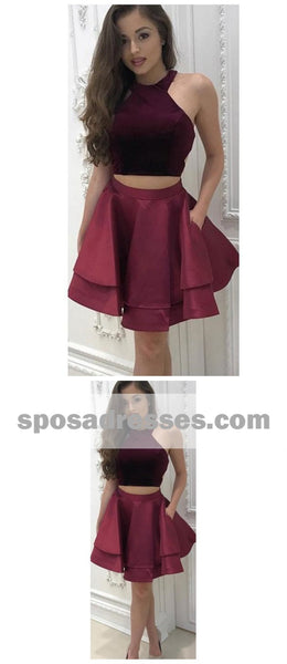 Sexy Two Pieces Simple Cheap Halter Dark Red Short Homecoming Dresses Online, CM538