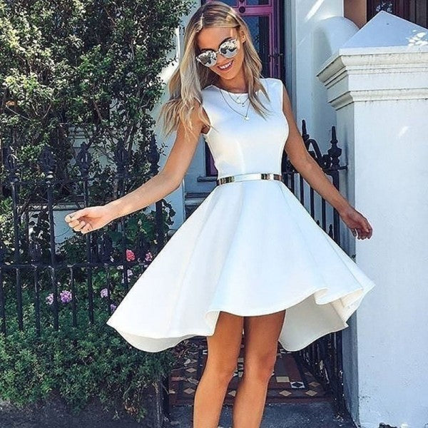 Elegant High Low Round Neck Short Cheap White Homecoming Dresses, QB0218