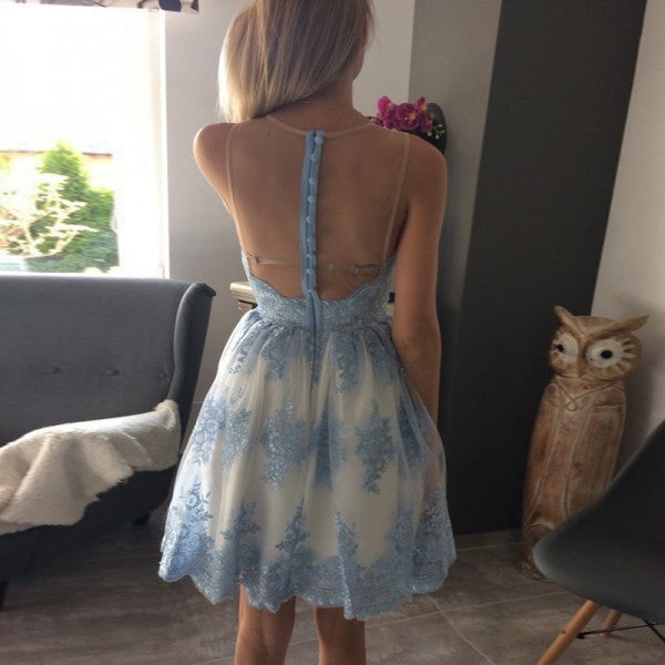 Pretty Jewel Illusion Back Blue Lace Appliques White Homecoming Dresses, QB0176