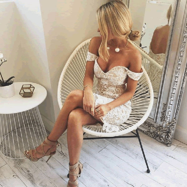Tight Off-Shoulder Lace Short Cheap Homecoming Dresses, QB0179