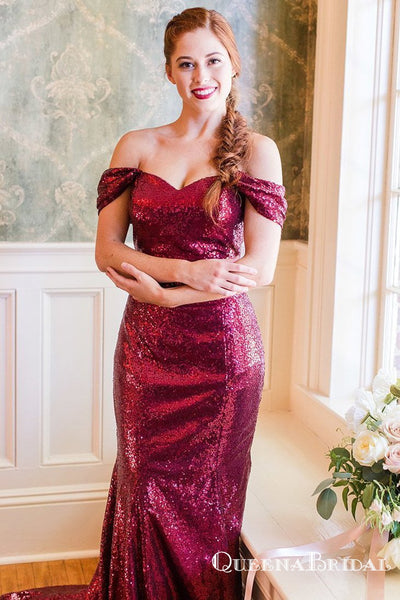 Mermaid Burgundy Off Shoulder Sequins Long Bridesmaid Dresses, QB0722