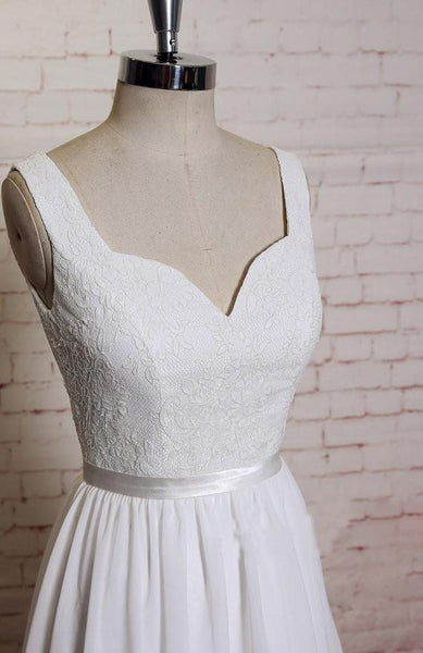 Backless V Neck Lace Straps Simple Cheap Beach Wedding Dresses, WD324