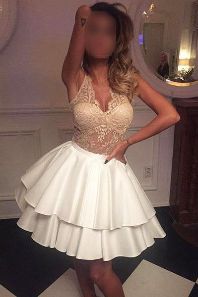 Sexy See Through Lace V Neck Short Cheap Homecoming Dresses Online, CM571