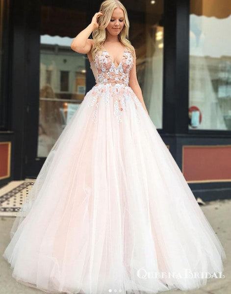 Charming Blush Pink Plus Size V Neck Tulle  Ball Gown Prom Dresses, QB0592