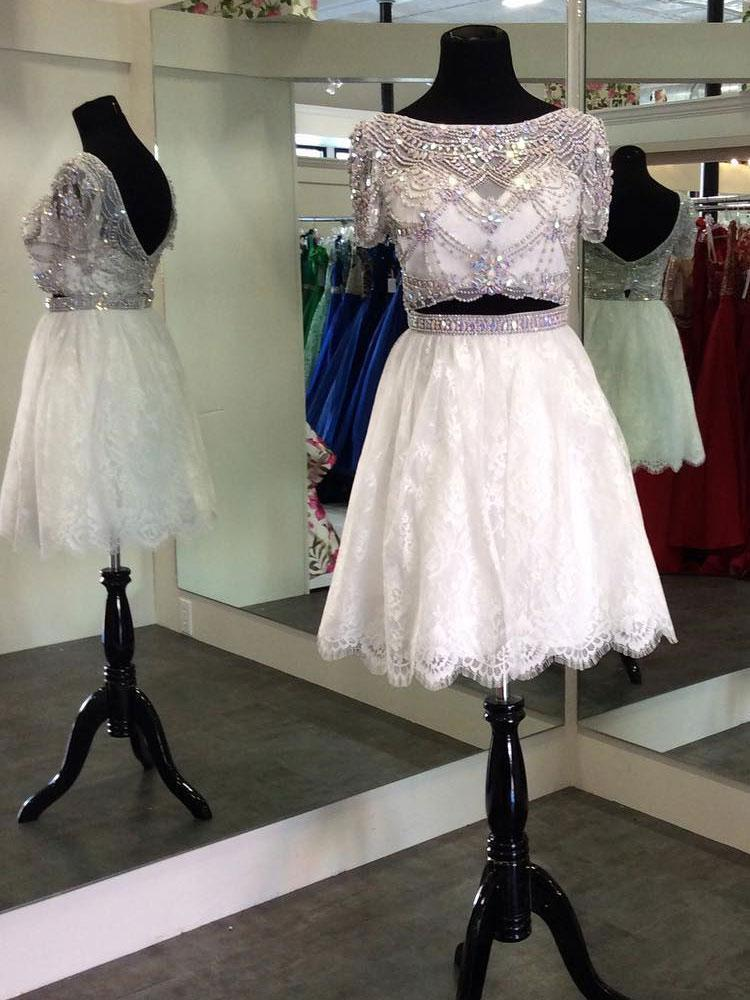 Cap Sleeves Rhinestone Two Pieces Short Homecoming Dresses 2018, CM503