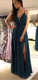 Spaghetti Straps Sexy Teal Side Slit Long Evening Prom Dresses, QB0420