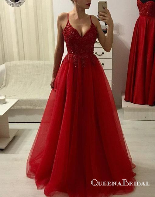 Charming V Neck Spaghetti Straps Dark Red Tulle Long with Beading Prom Dresses, QB0562