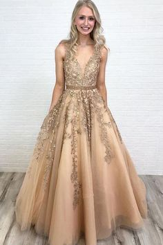 Ball Gown V Neck Open Back Gold Lace Long Prom Dresses with Beading, QB0583