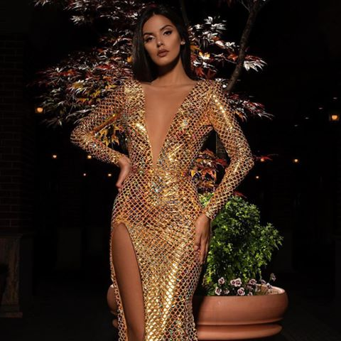 Sexy Deep V-neck Long Sleeves Sparkly Gold Sequin Mermaid Long Cheap Evening Prom Dresses, PDS0004