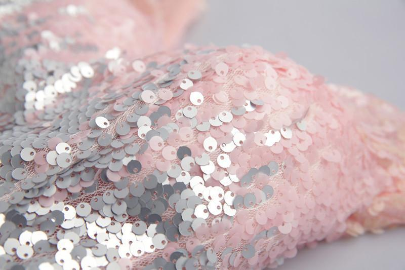 Sparkly V Neck Sequin Cute Short Pink Homecoming Dresses 2018, CM510