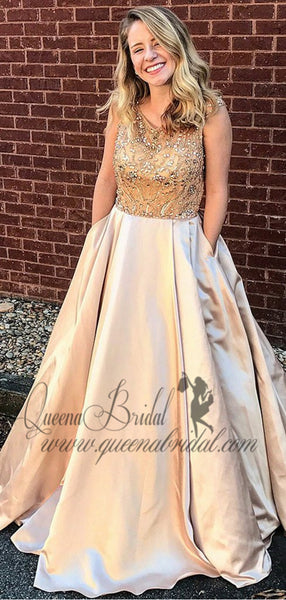 Cap Sleeves A-line Rhinestone Long Evening Prom Dresses, QB0428
