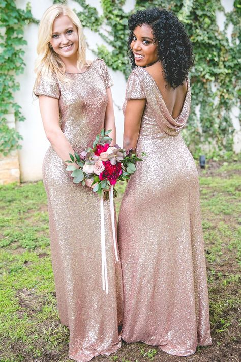 Mismatched Long Cheap Rose Gold Sequined Bridesmaid Dresses Qb0487 Queenabridal