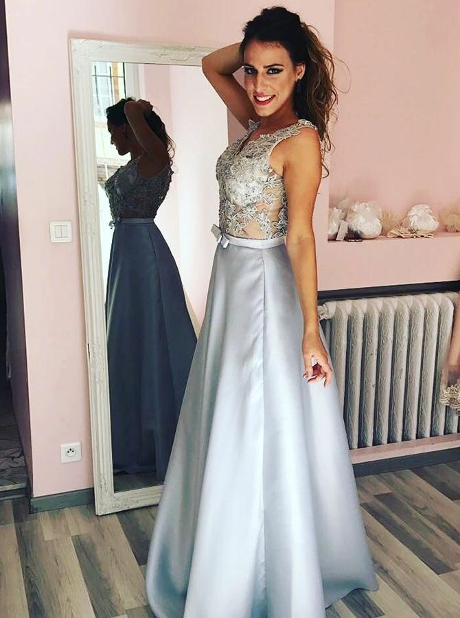 Sexy Lace See Through Grey A-line Long Evening Prom Dresses, QB0426