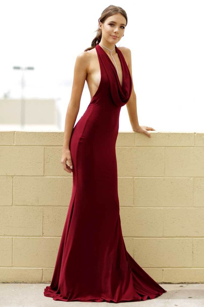 2019 Burgundy Mermaid Halter Backless Sexy Evening Prom Dresses, QB0443