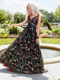 Black Embroidery V Neck Long Sexy Evening Prom Dresses, QB0442
