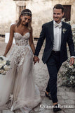 Romantic Sweetheart A-Line White Wedding Dresses with 3D Flower Applique, QB0819
