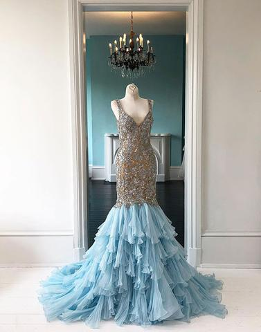 2019 Sparkly V-neck Beaded Long Mermaid Formal Prom Dresses, QB0464
