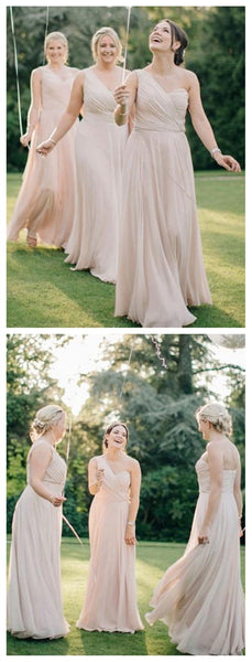 One Shoulder Chiffon Long Cheap Bridesmaid Dresses Online, WG273