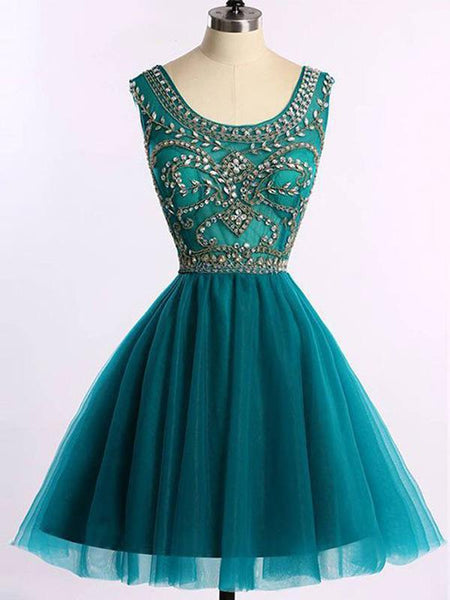 Custom Cute Green Beaded Short Homecoming Dresses Online, CM532
