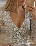 Sparkly Silver Sequin V-neck Long Sleeves Short Party Homecoming Dresses, HDS0004