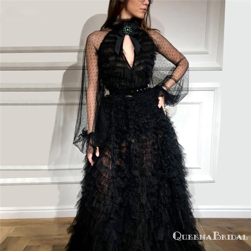 Gorgeus Halter Open Chest Long Sleeves Black Tulle A-line Long Cheap Evening Party Prom Dresses, PDS0017