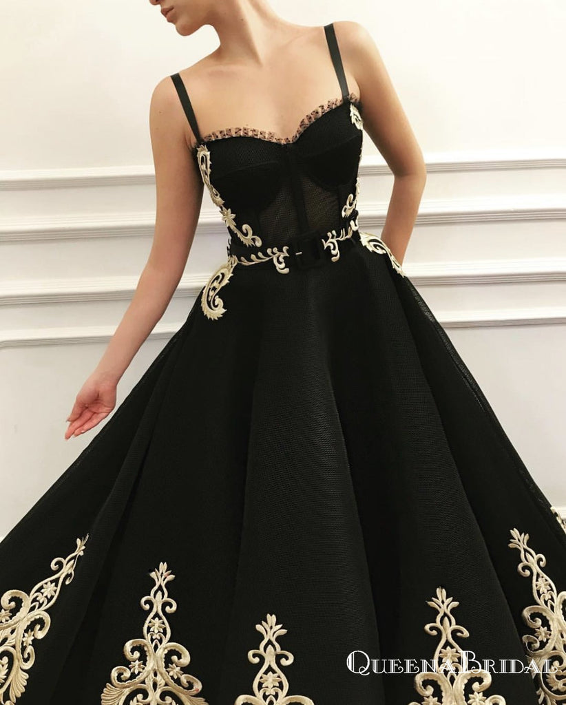 Gogerous Spaghetti Strap Black Tulle Gold Lace Applique A-line Long Cheap Formal Evening Prom Dresses, QB0967