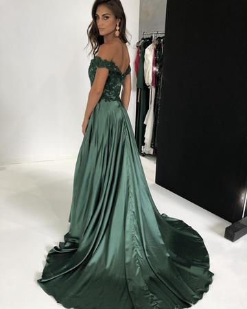 Elegant Green Lace V-neck Off-the-shoulder Long Satin Split Prom Dresses, QB0597