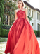 Red Color Appliques A-line Strapless Long Cheap Prom Dresses, QB0800