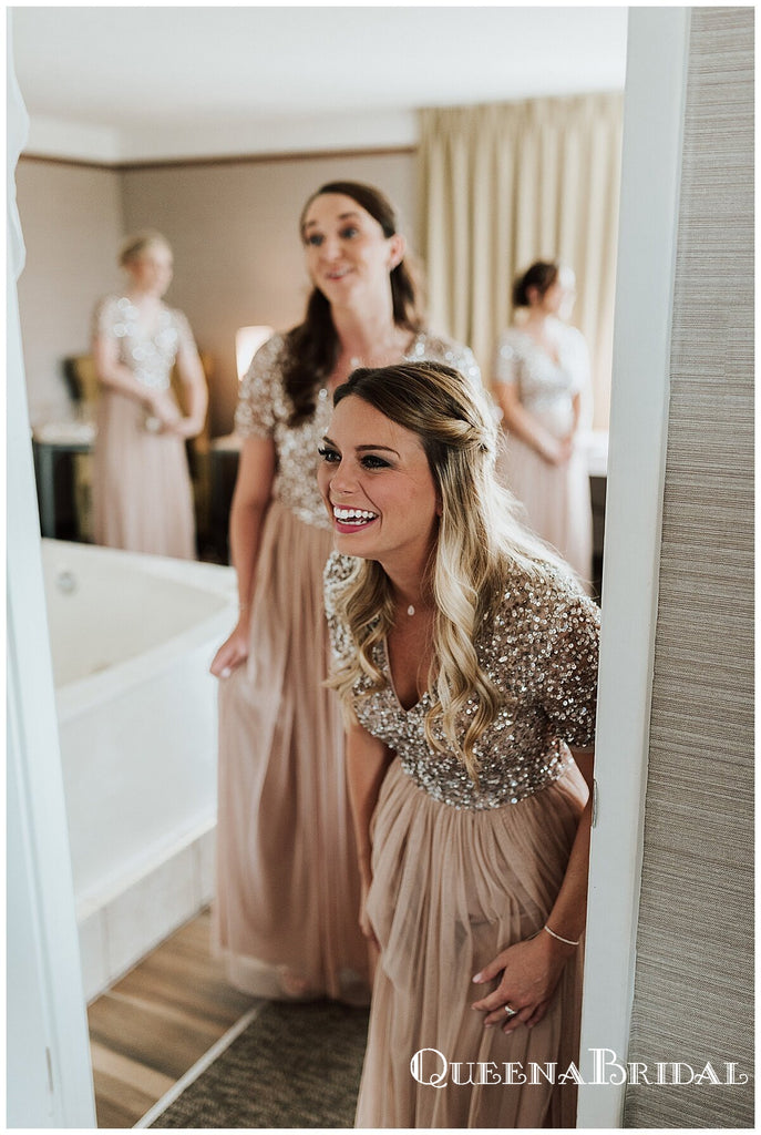 Popular V-neck Short Sleeves Champagne Tulle A-line Long Cheap Bridesmaid Dresses Online, BDS0079