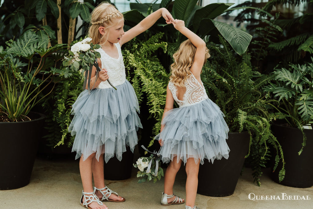 New Arrival Round Neck Navy Blue Tulle A-line Long Cheap Flower Girl Dresses, FGS0014