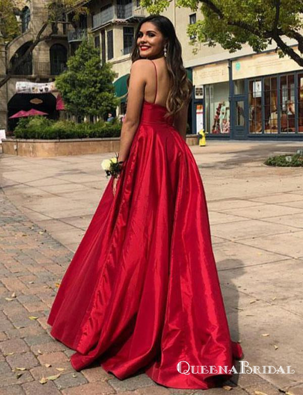 Charming A Line Spaghetti Straps Red Satin Long Prom Dresses, QB0636