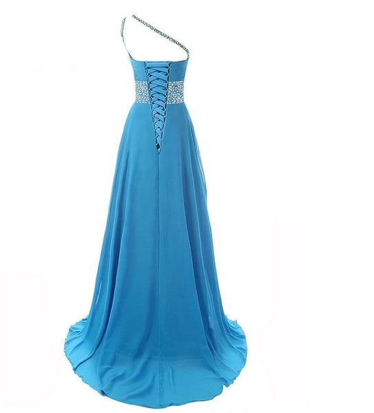 One Shoulder Chiffon Ombre Beaded Long Evening Prom Dresses, QB0362