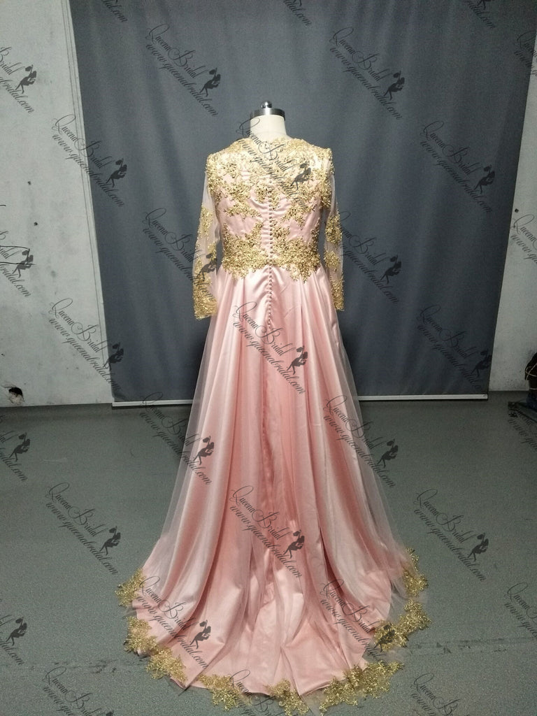 Long Sleeves Gold Lace Beaded Pink Skirt Long Evening Prom Dresses, QB0376