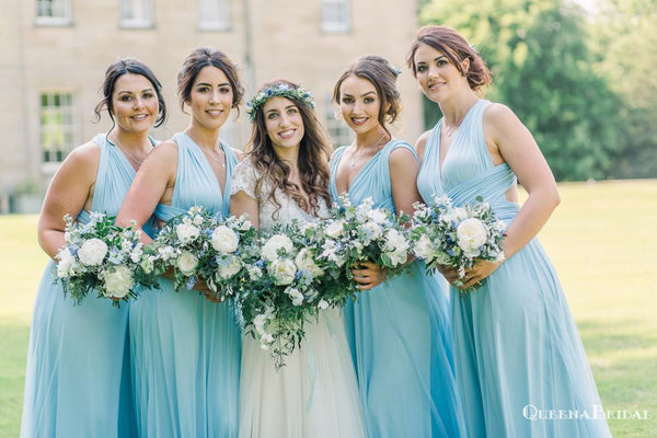 Sexy Charming Elegant Light Blue Mismatched V-neck A-line Long Cheap Jersey Bridesmaid Dresses, BDS0003