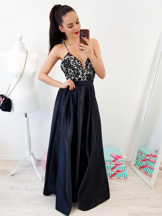 Sexy Navy Blue Top Beaded long cheap Satin Prom Dresses, QB0469