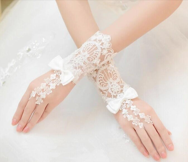 Long Bridal Gloves, Lace Appliques Gloves, Lovely Gloves With Beaded And Bow, TYP0574