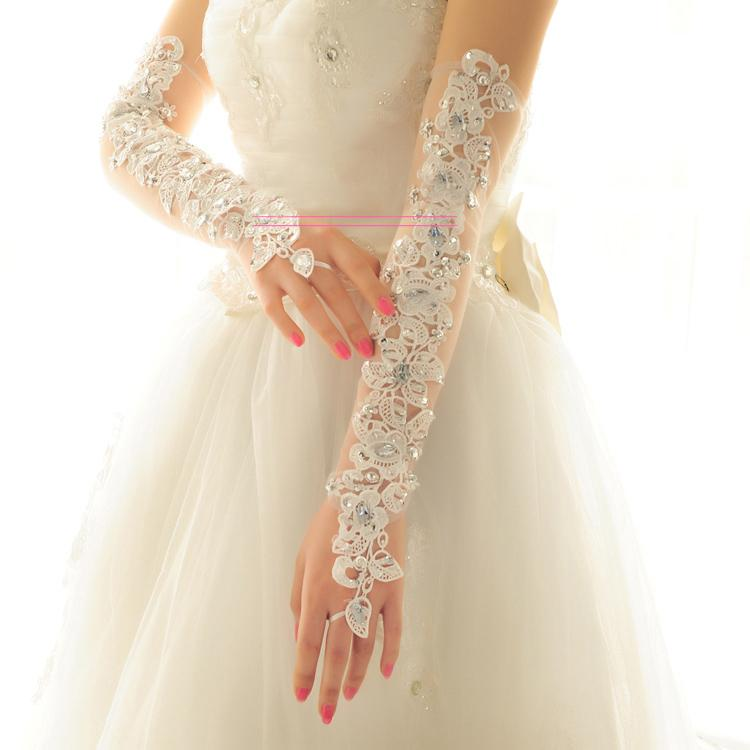 Wedding Gloves, Lace Flower Bridal Gloves, Beading Gloves, Long Gloves, TYP0532
