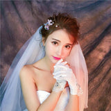 Short Finger Rhinestone Wedding Gloves, Women Bridal Gloves, TYP0637