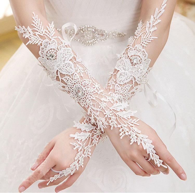 Bridal Gloves, French Lace Gloves, Floral Rhinestone Bridal Gloves, Long Design Fingerless Gloves, Wedding Gloves, Wedding Accessory, TYP0569