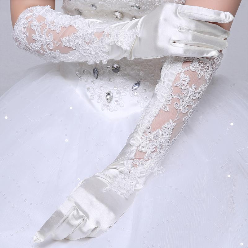 Bridal Gloves, White Satin Long Full Finger Bridal Gloves, Lace Wedding Gloves, Wedding Accessory, TYP0555