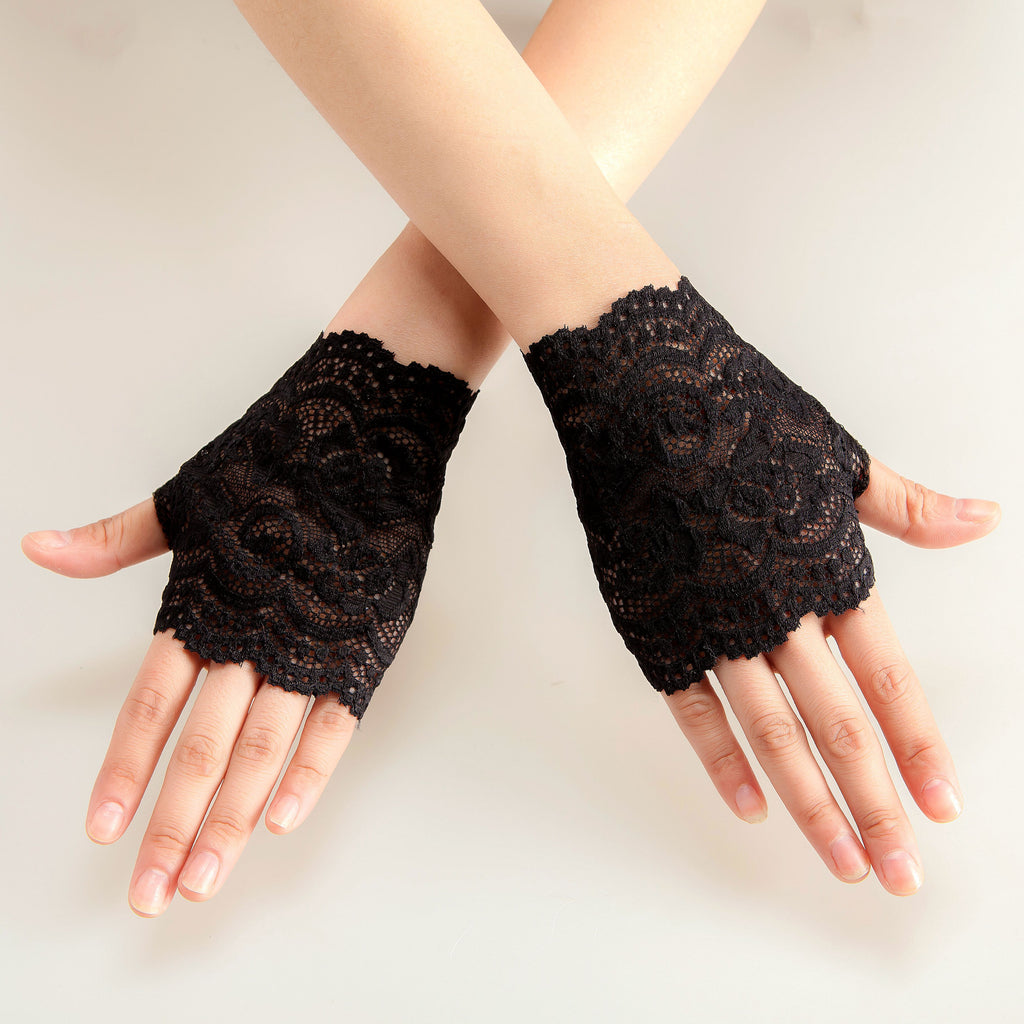 Women's Lace Gloves, black lace gloves, fingerless gloves, Tea Party Gloves, Lace Gloves, Wedding Gloves, TYP0536