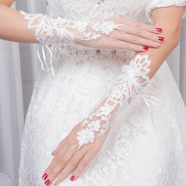 White Bridal Gloves, Wedding Gloves Adorned With Pearls And Lace Flowers, TYP0558