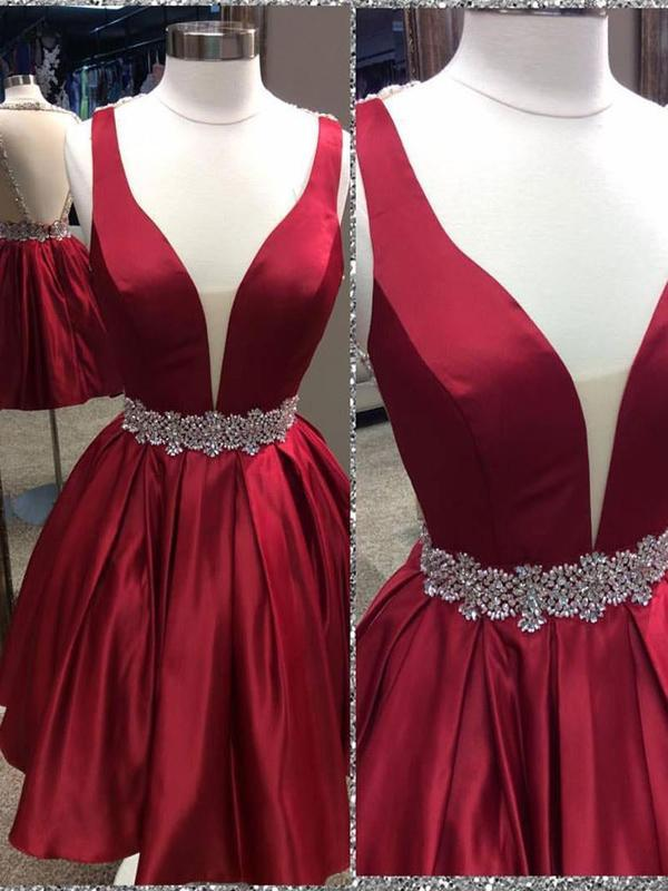 Sexy Backless V Neck Beaded Cheap Homecoming Dresses 2018, CM429