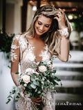 Sexy V-neck Long Sleeve Lace Mermaid Long Cheap Beach Wedding Dresses, WDS0039