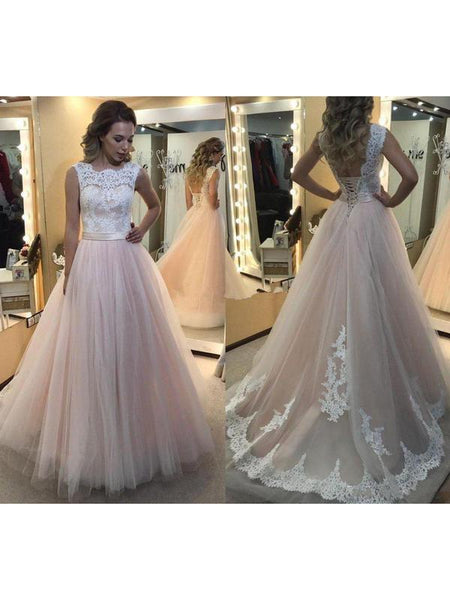 3853e0de7d8 A-line Light Pink Tulle Prom Dresses White Lace Applique Quinceanera Dresses