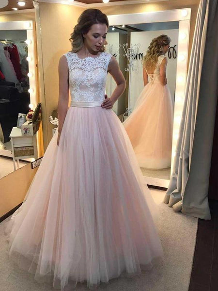 f67fca6f A-line Light Pink Tulle Prom Dresses White Lace Applique Quinceanera Dresses,  QB0341