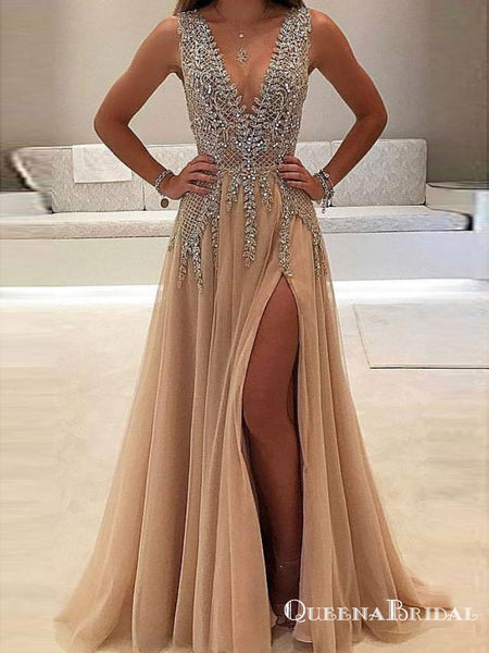 09044b62b7 A-line V-neck Evening Dress with Slit Sexy Shiny Rhinestone Long Prom  Dresses, QB0335