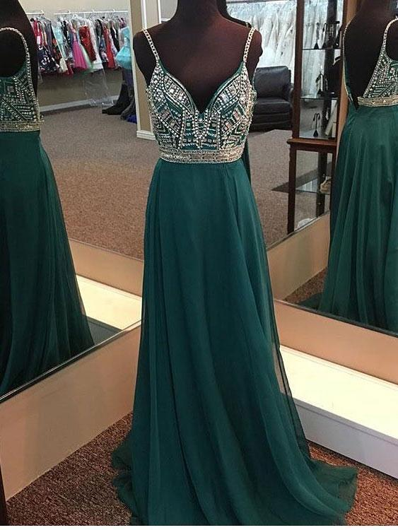 A-line V-neck Spaghetti Strap Green Chiffon Long Beaded Prom Dresses, QB0311