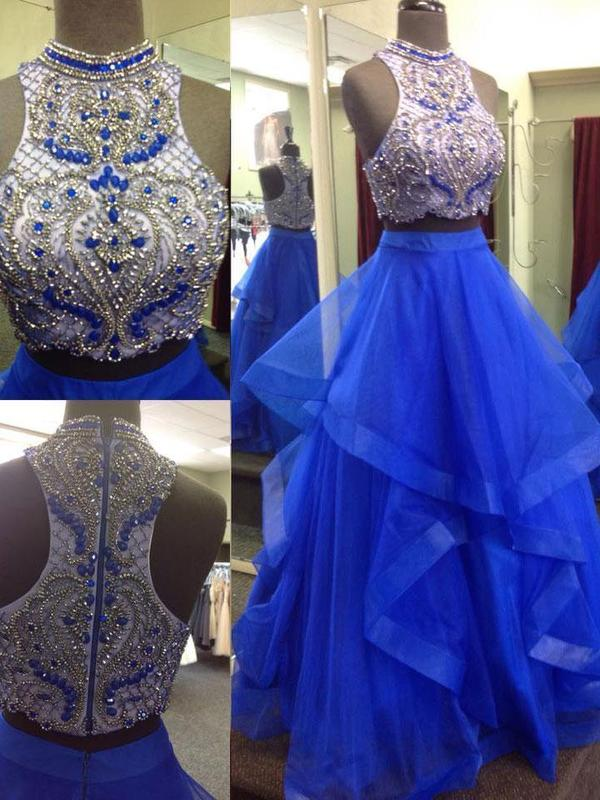 A-line/Princess Halter  Ball Gown Royal Blue Beaded Top Two Piece Prom Dresses, QB0276