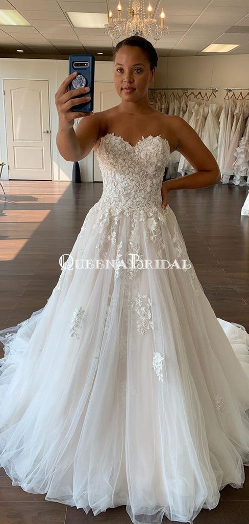 Charming Sweetheart Lace Appliqued A-line Long Cheap Wedding Dresses, WDS0055